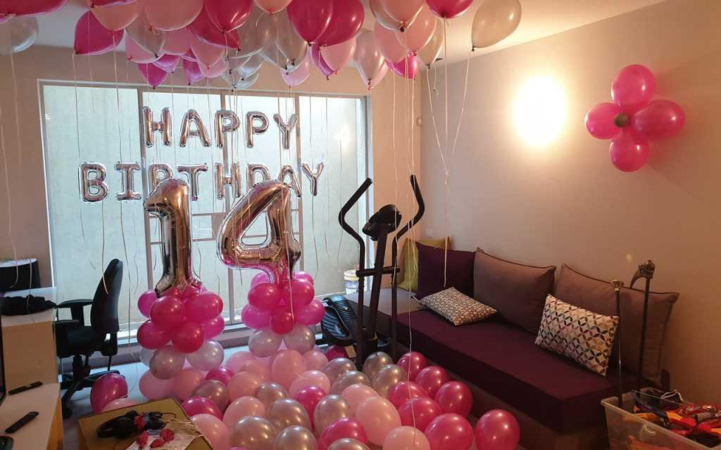 סידור בלונים לחדר יום הולדת